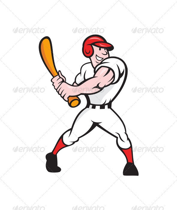Baseball Player Batting Cartoon - Sports/Activity Conceptual