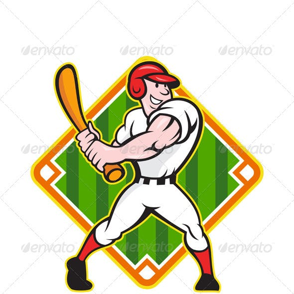 Baseball Player Batting Diamond