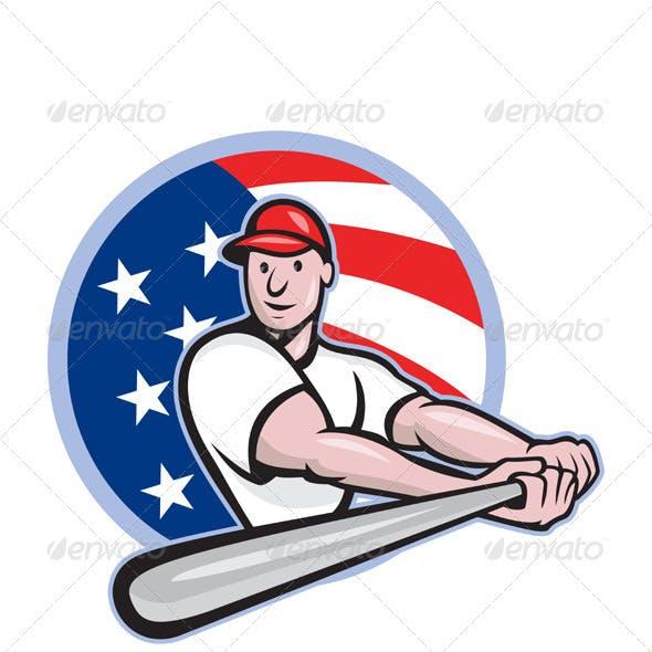 American Baseball Player Batting