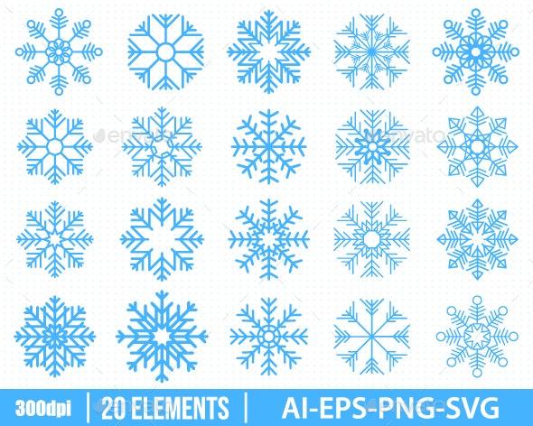 Snowflakes Clipart - Decorative Symbols Decorative