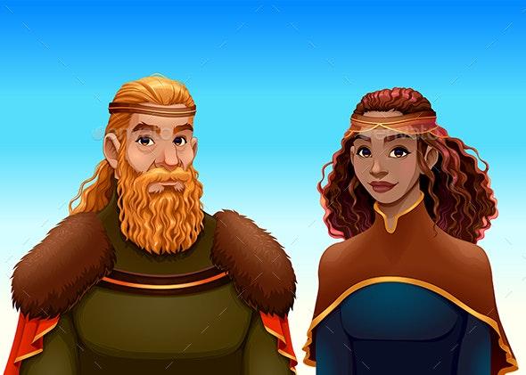 Cartoon Portrait of a King and a Queen - Characters Vectors