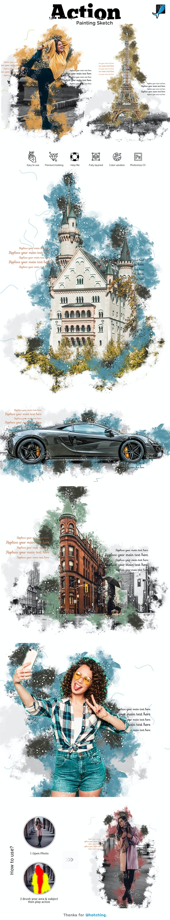 Painting Sketch Photoshop Action - Photo Effects Actions