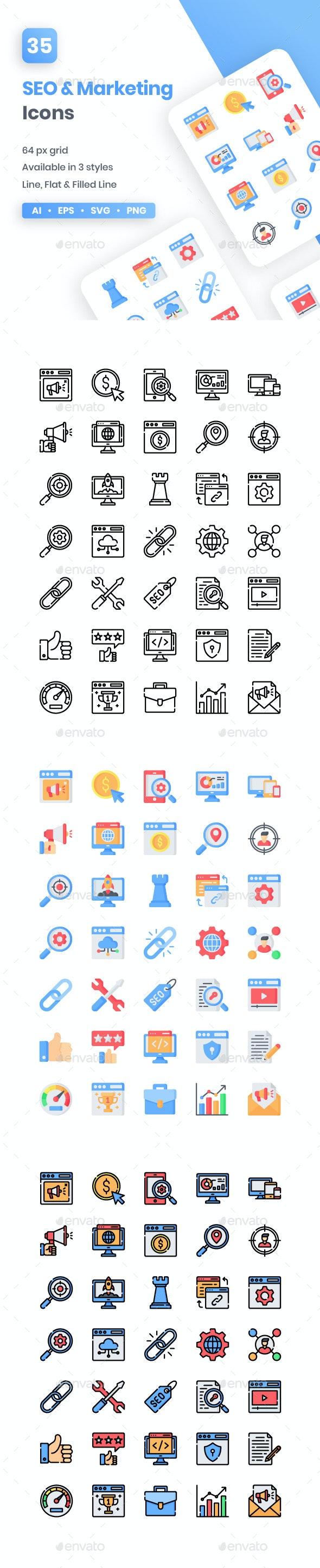 SEO & Marketing Icons - Web Icons