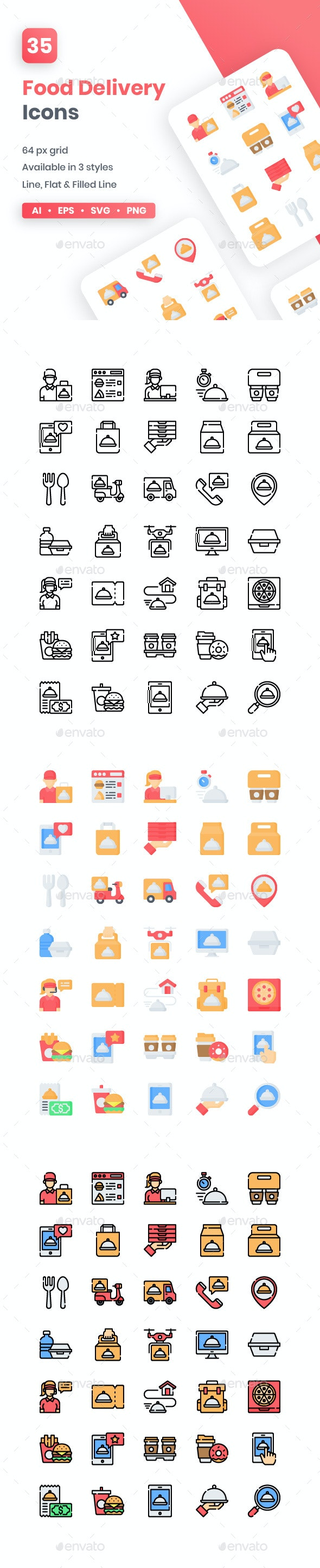 Food Delivery Icons - Food Objects