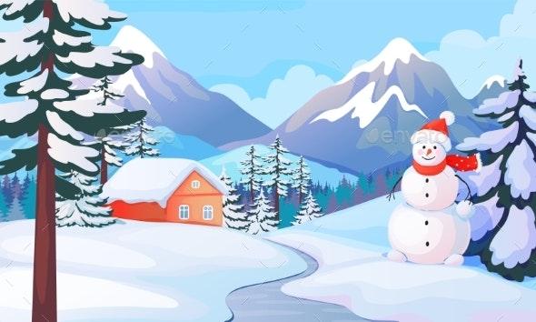 Winter Snowman Landscape. House in Snowy Mountain - Buildings Objects