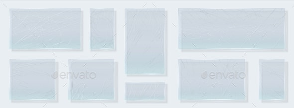 Scratched Glass. Realistic Glossy Shapes with - Backgrounds Decorative