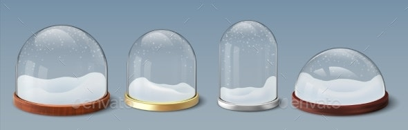 Snow Globe. Realistic Glass Dome with Snowflakes - Seasons/Holidays Conceptual