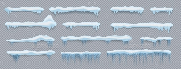 Snow Caps Roof and Window Decorative Elements - Miscellaneous Vectors