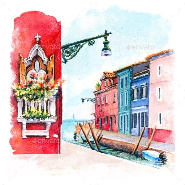 Colorful Street on Burano, Venice, Italy - Scenes Illustrations