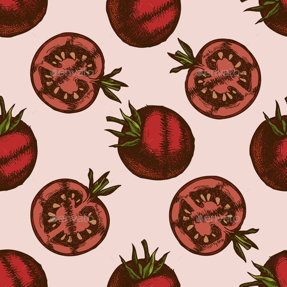 Seamless Pattern with Hand Drawn Colored Grilled - Food Objects