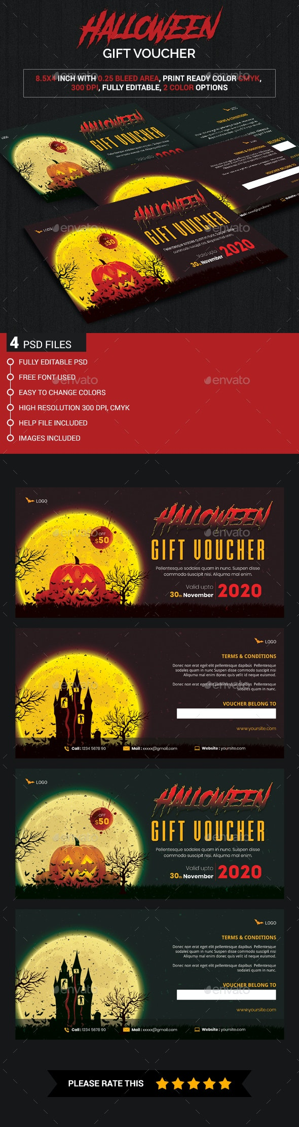 Halloween gift voucher - Cards & Invites Print Templates