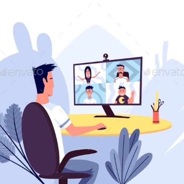 Online Meeting. Online Communication Vector