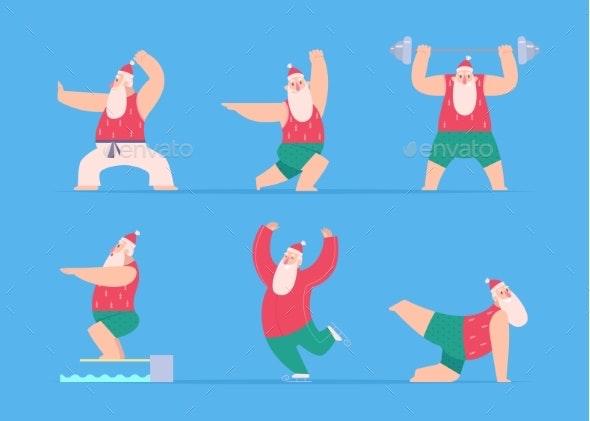 Santa Sport Fitness Christmas Characters Winter - Christmas Seasons/Holidays