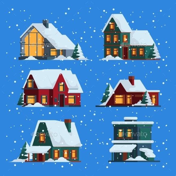 Winter Houses - Miscellaneous Vectors