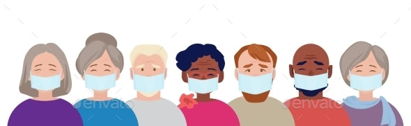 Protection Mask. Adults People in Medical Masked - People Characters