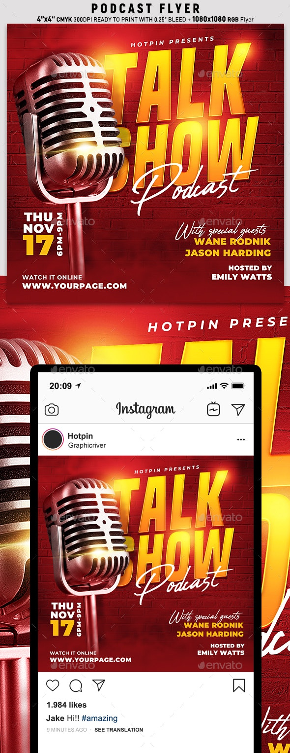 Talk Show Podcast Flyer Template - Events Flyers