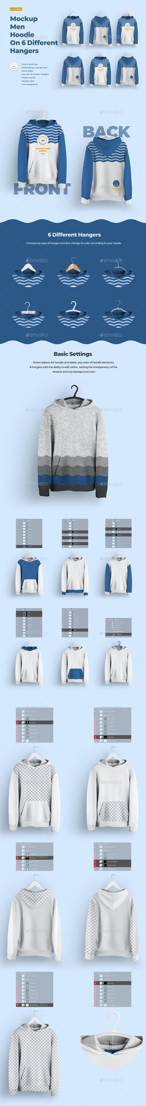 Front and Back Men Hoodie Mockup On 6 Different Hangers - Apparel Product Mock-Ups