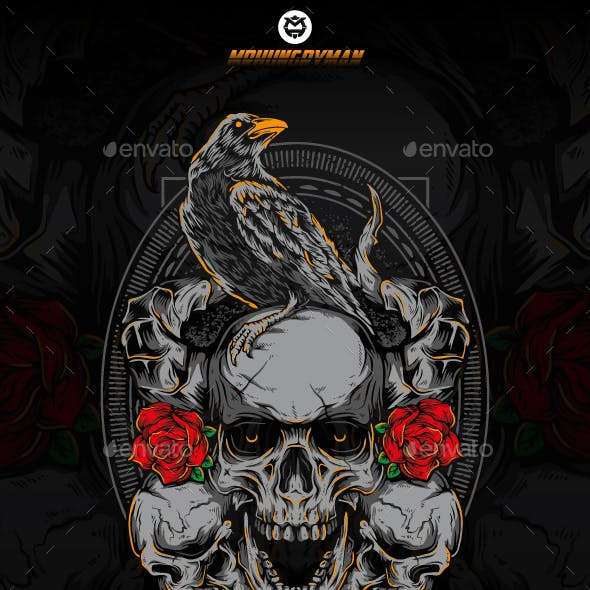 Crow on Skull and Roses
