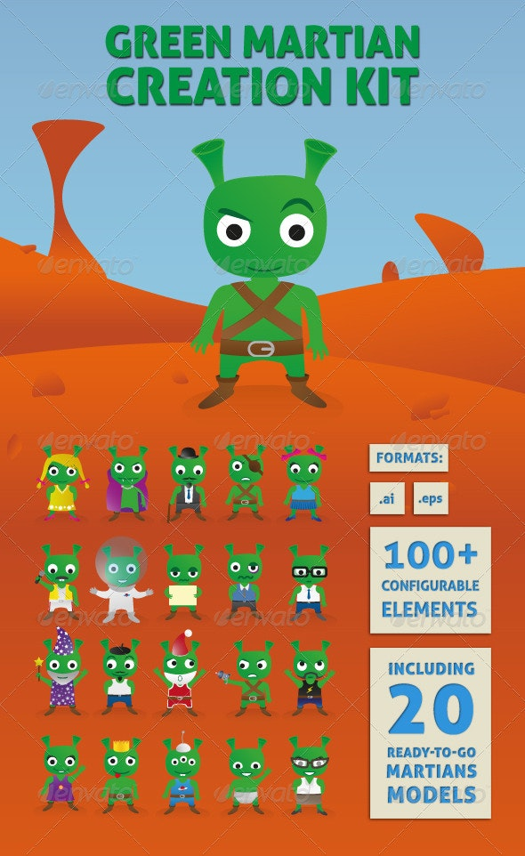 Green Martian Creation Kit - Monsters Characters