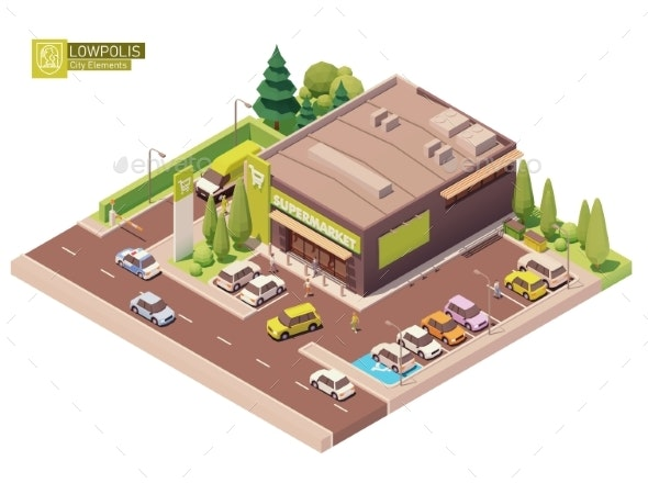 Vector Isometric Supermarket Building - Buildings Objects