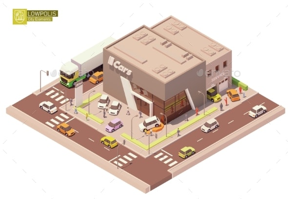 Vector Isometric Car Dealership & Service Station - Buildings Objects
