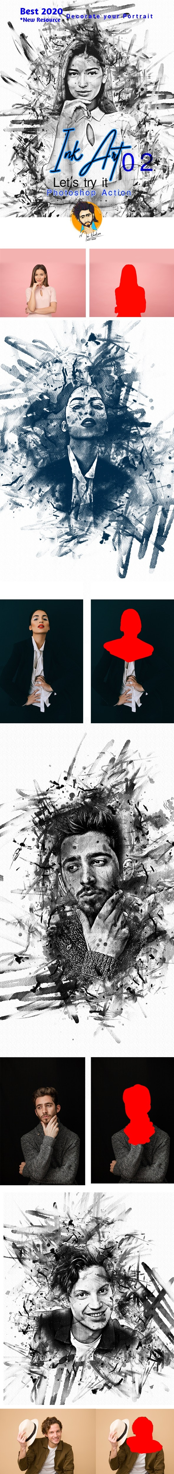 Ink Art Photoshop Action - Actions Photoshop