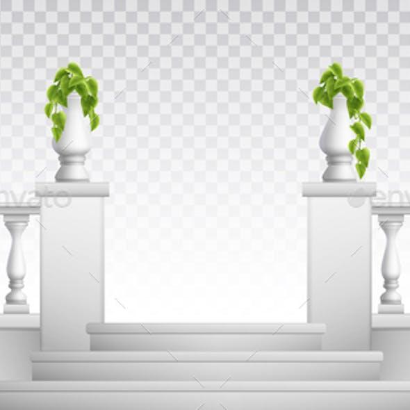 Balustrade With Decorative Vases