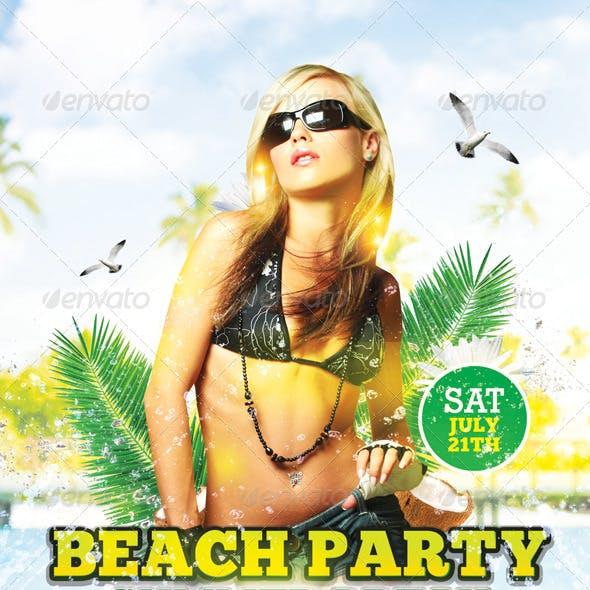 Beach Party Summer Break   Flyer + Facebook Cover