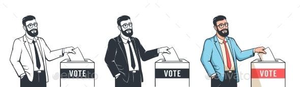 Man Votes in Presidental Election - Throws Ballot - Miscellaneous Vectors