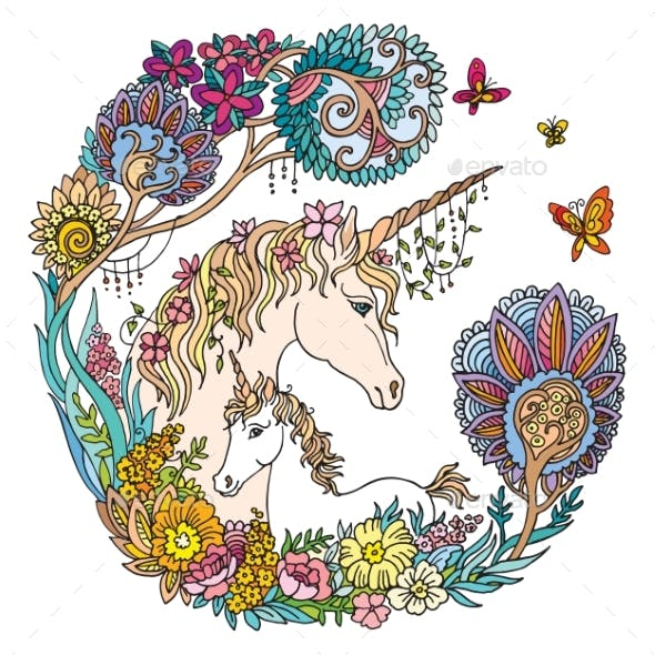 Colorful Unicorn with Foal and Flowers Vector