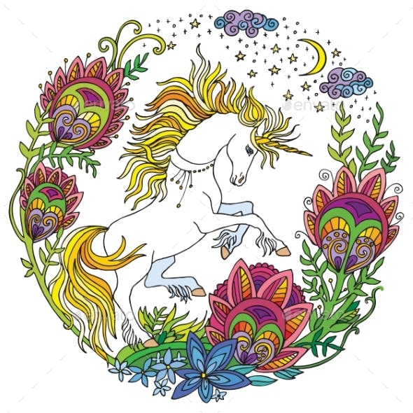 Colorful Cute Unicorn with Flowers Vector