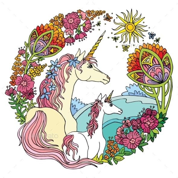 Colorful Unicorn and Foal with Flowers Vector