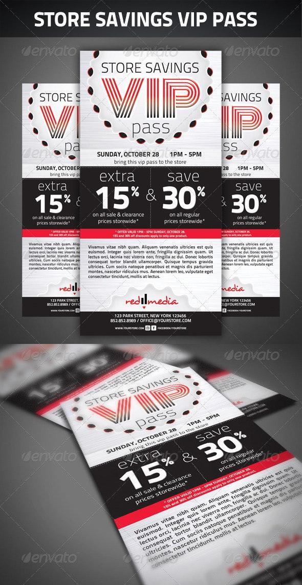 Store savings VIP pass - Cards & Invites Print Templates