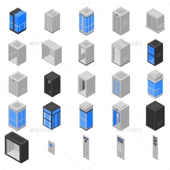 Elevator Icons Set Isometric Style