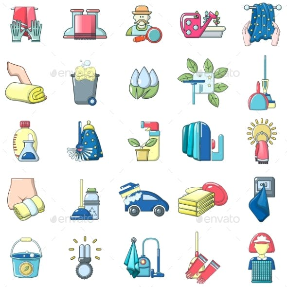 Cleanup Icons Set, Cartoon Style