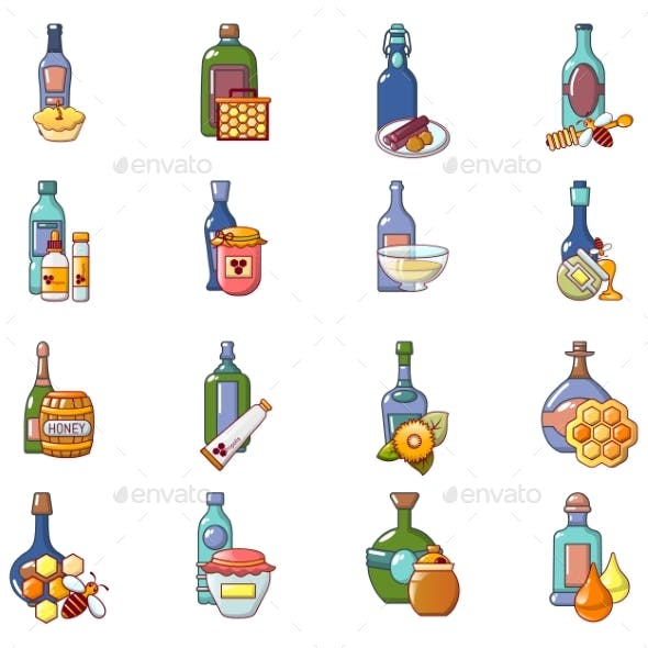 Mead Icons Set, Cartoon Style