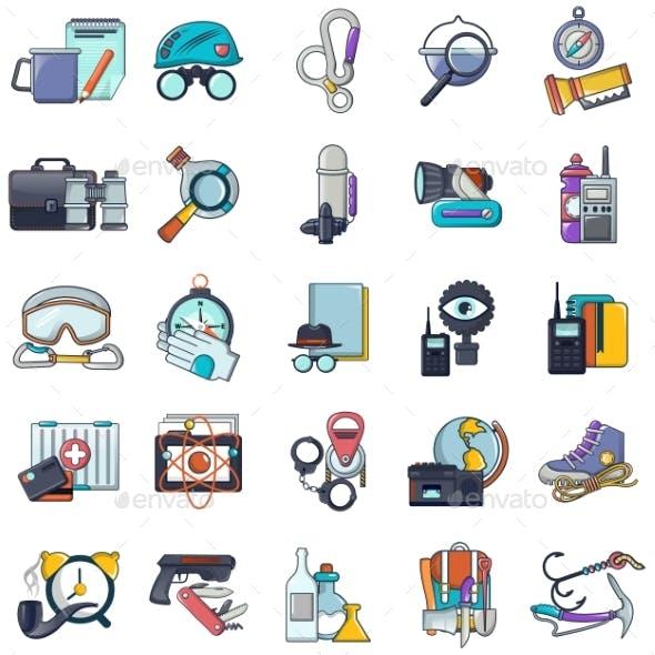 Espionage Icons Set, Cartoon Style