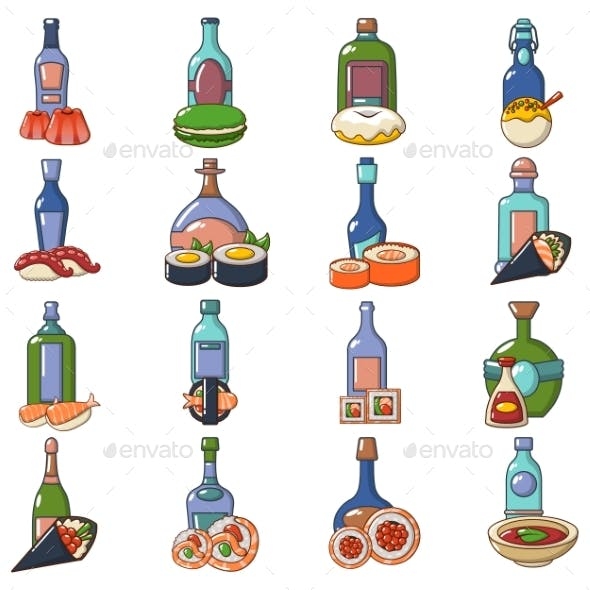 Japanese Booze Icons Set, Cartoon Style