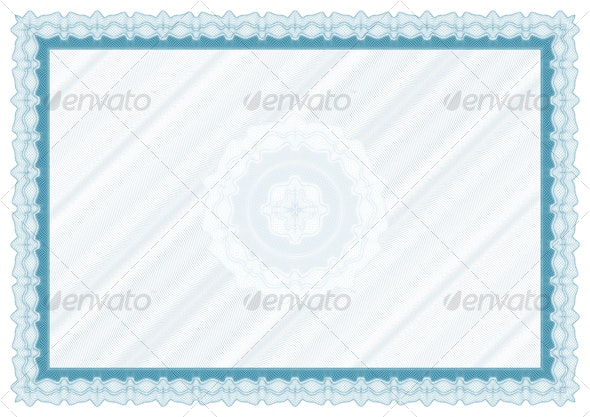 Blank diploma with bakground and rosette - Borders Decorative