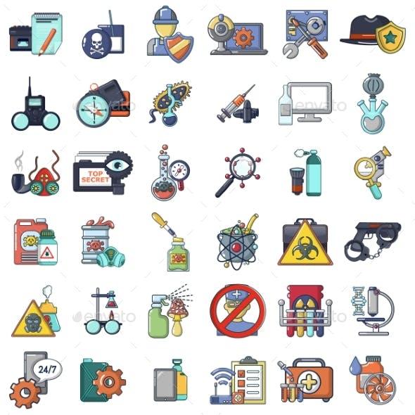 Spying Poison Icons Set, Cartoon Style