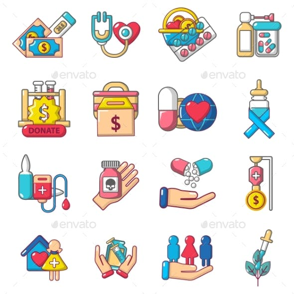 Therapeutic Icons Set, Cartoon Style