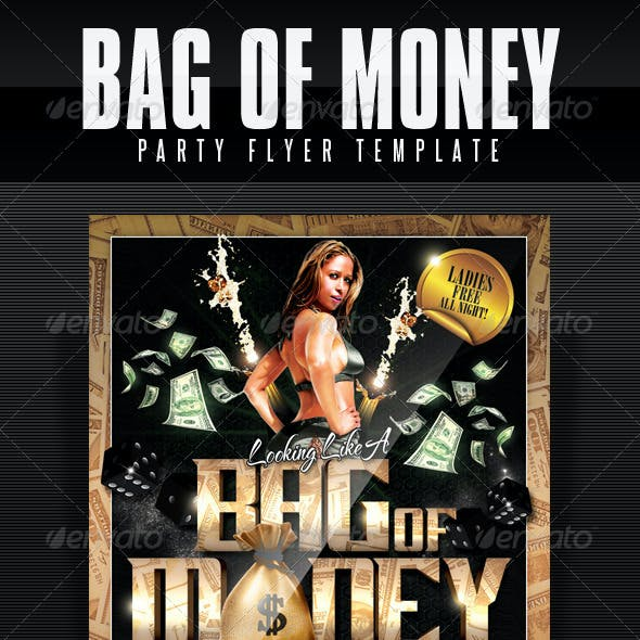 Bag Of Money Party Flyer Template