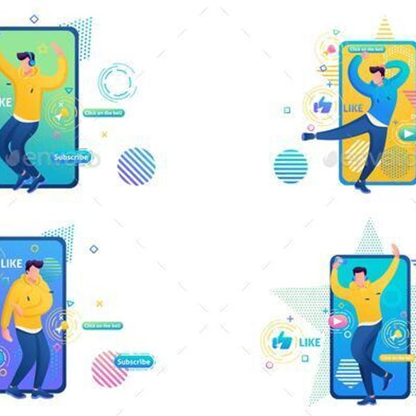 Set of Web Design About Channels With Dance Training For People