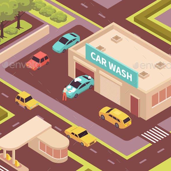 Car Wash Isometric Illustration