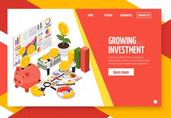 Wealth Management Isometric Banner - Business Conceptual