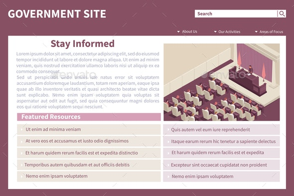 Parliament Government Isometric Website - Computers Technology