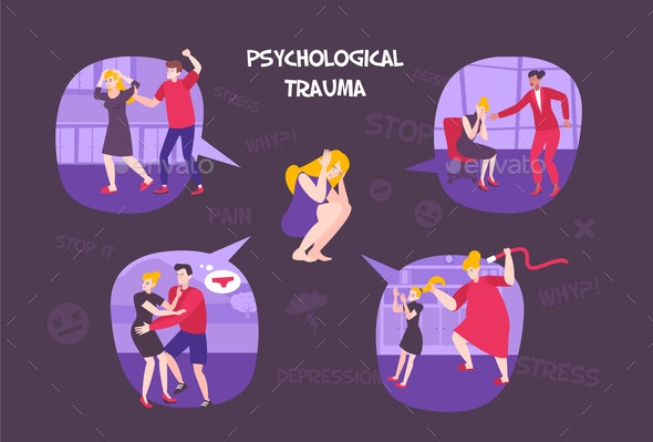 Psychological Trauma Flat Composition - People Characters