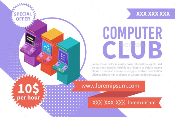 Computer Club Isometric Banner - Technology Conceptual