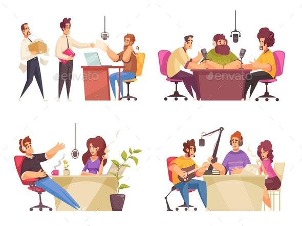 Radio Studio Concept Icons Set - Computers Technology