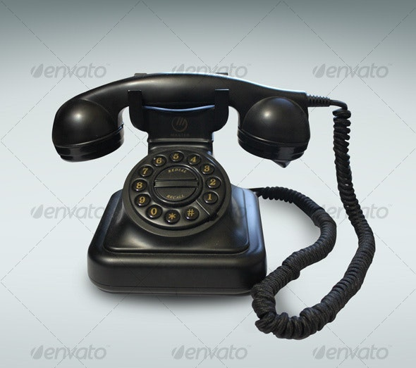 Black Vintage Phone - Home & Office Isolated Objects